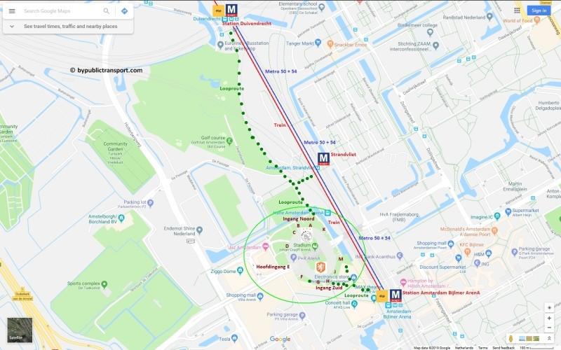 amsterdam johan cruijff arena met openbaar vervoer by public transport detailed area map