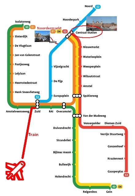 amsterdam metro kaart map plan noordermarkt