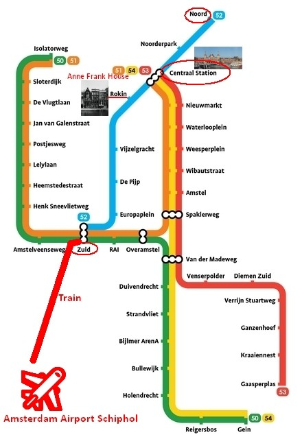 amsterdam metro map plan anne frank house