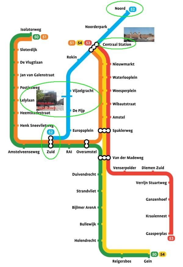amsterdam metro map plan heineken experience