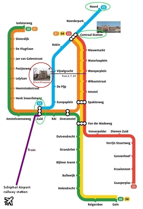 amsterdam metro map plan moco museum