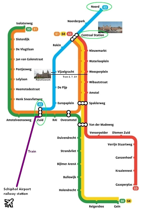 amsterdam metro map plan rijksmuseum amsterdam