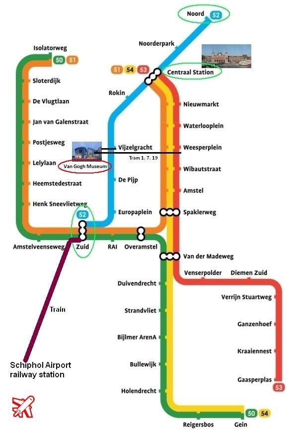 amsterdam metro map plan van gogh museum amsterdam