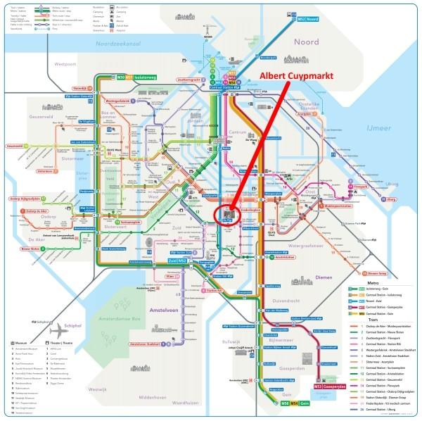 amsterdam metro tram map plan albert cuypmarkt 600 x 598