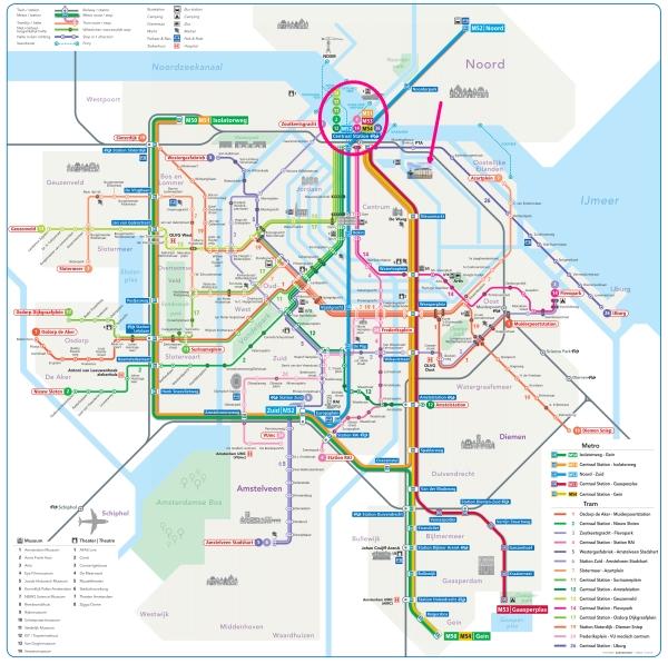 amsterdam metro tram map plan scheepvaartmuseum 600 x 597