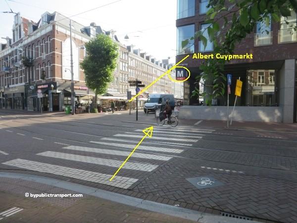 hoe kom ik bij de albert cuypmarkt amsterdam met het ov openbaar vervoer by public transport 13