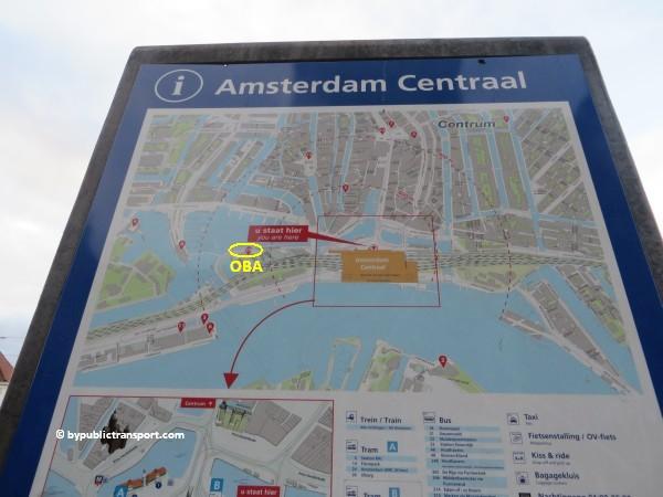 hoe kom ik bij de centrale bibliotheek oba oosterdok in amsterdam met het ov openbaar vervoer by public transport 11
