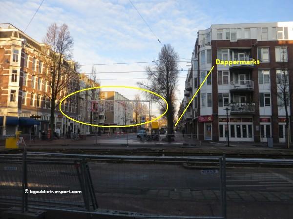 hoe kom ik bij de dappermarkt amsterdam met het ov openbaar vervoer by public transport 12