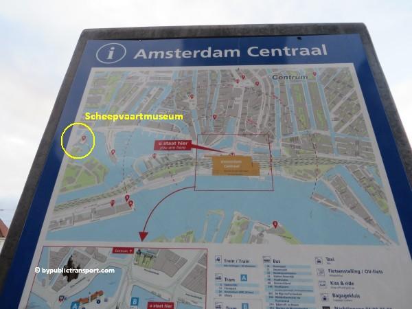 hoe kom ik bij het scheepvaartmuseum in amsterdam met het ov openbaar vervoer by public transport 17