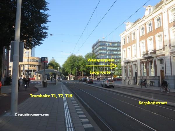nationaal holocaust namenmonument amsterdam met het ov openbaar vervoer by public transport 14