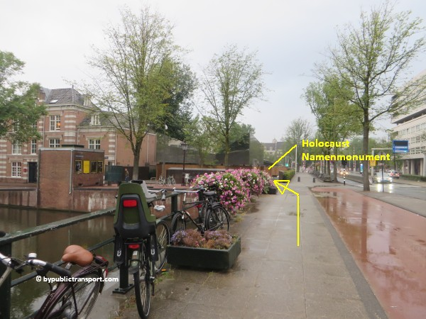 nationaal holocaust namenmonument amsterdam met het ov openbaar vervoer by public transport 37