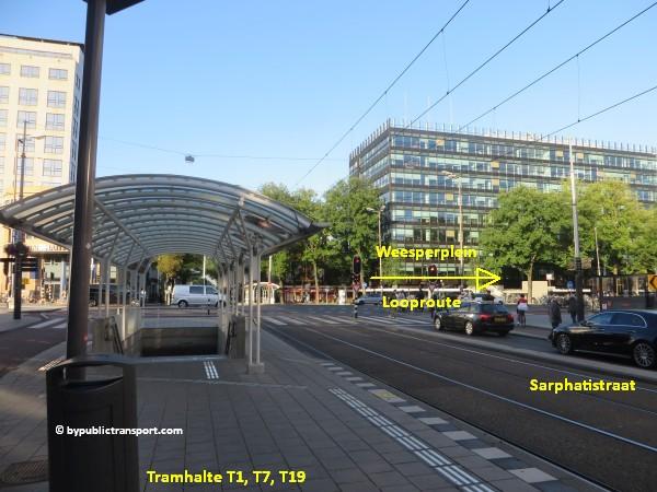 nationaal holocaust namenmonument amsterdam met het ov openbaar vervoer by public transport 38